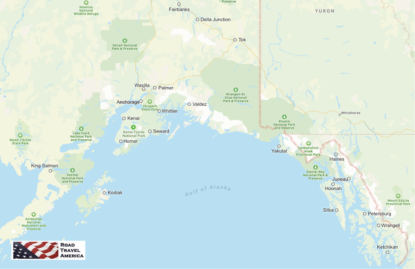 Map showing the locations of major cities, travel destinations and national parks in Alaska