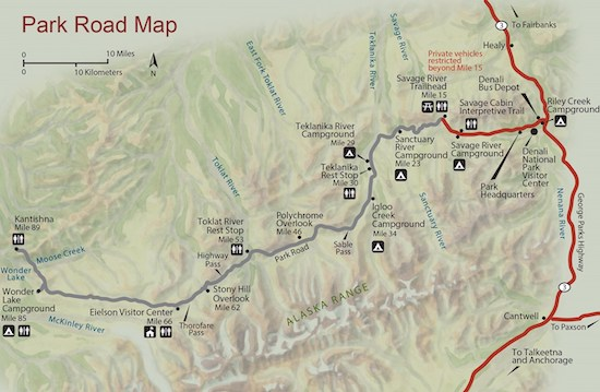 Map of Denali National Park ... click to view the map at the National Park Service website