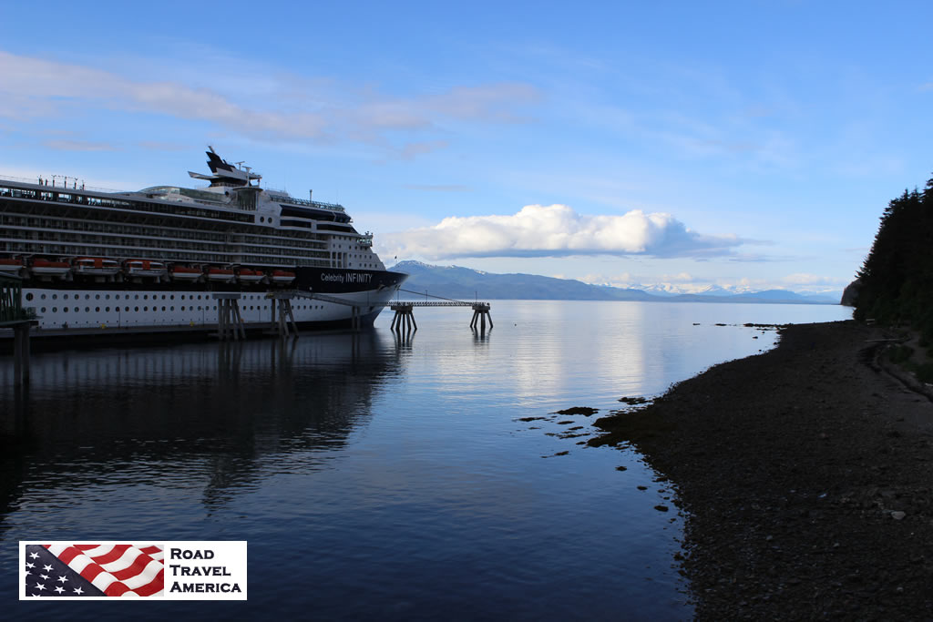 The Celebrity Infinity cruise ship docked in Hoonah