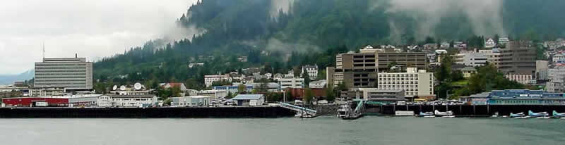 The harbor and skyline of Juneau, Alaska