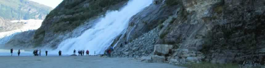 The falls at the Mendenhall Glacier