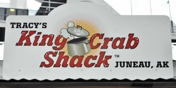 Sign for Tracy's King Crab Shack in downtown Juneau