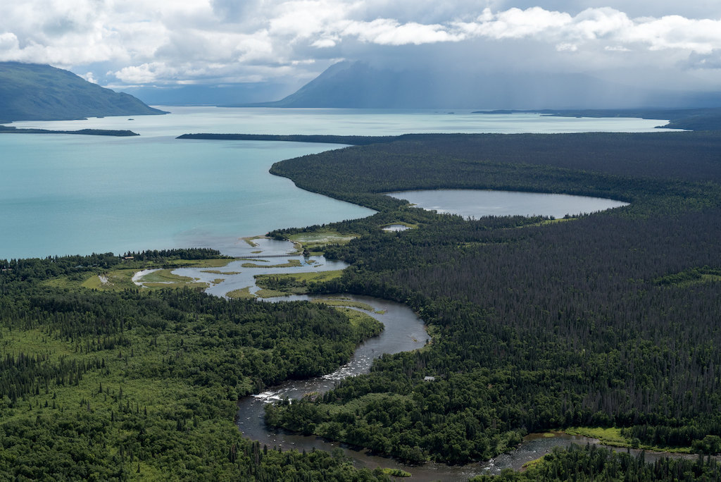 Aerial view of Brooks Camp at Katmai National Park