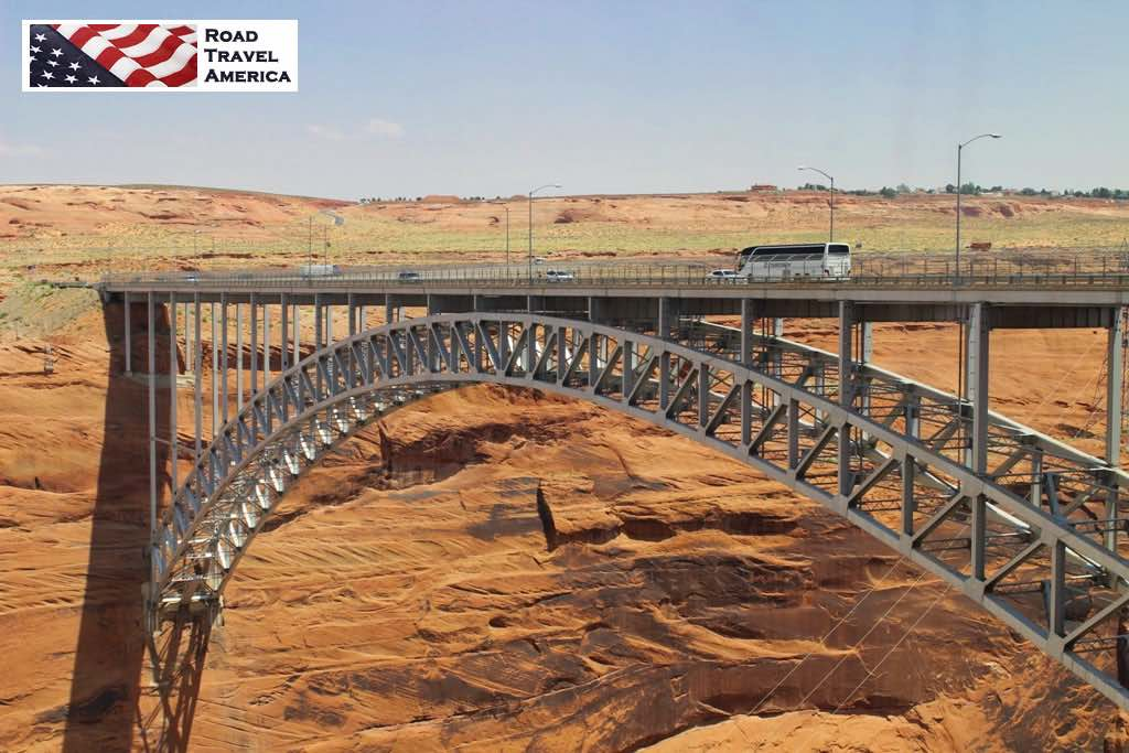 The Glen Canyon Dam Bridge over the Colorado River, looking east from the Carl Hayden Visitor Center