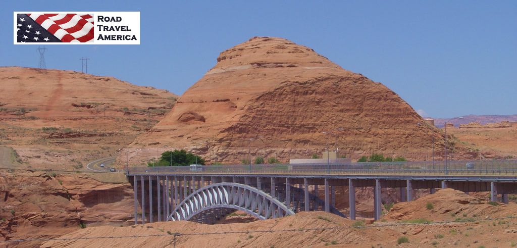 The Glen Canyon Dam Bridge, looking west towards the Carl Hayden Visitor Center