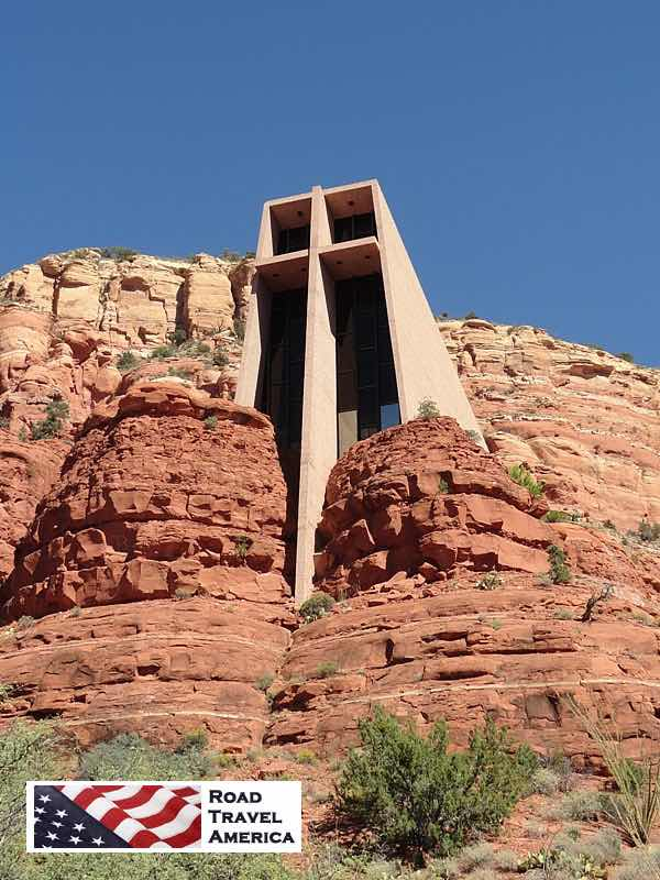 Exterior view of the Chapel of the Holy Cross in Sedona