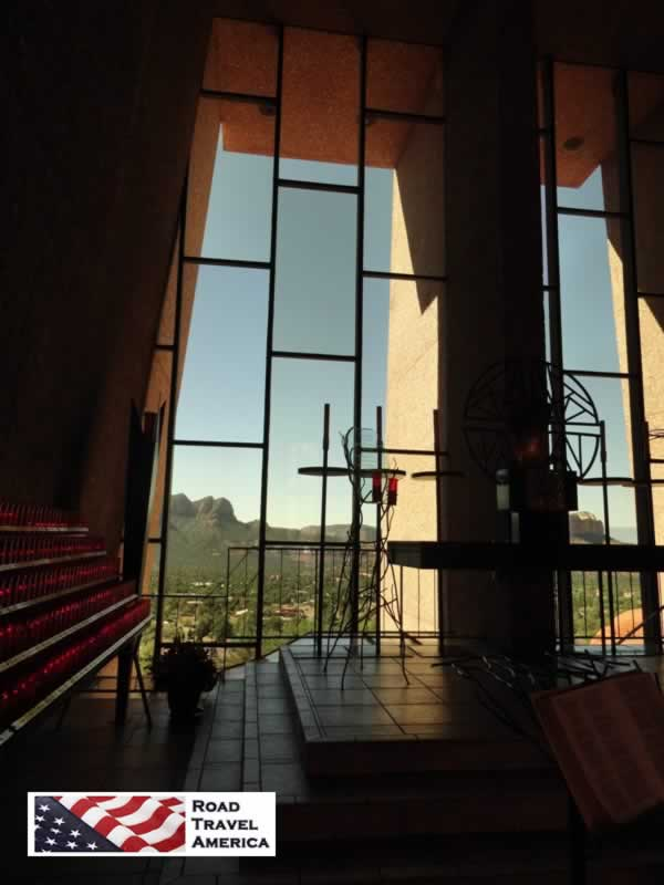 View from the interior of the Chapel of the Holy Cross in Sedona