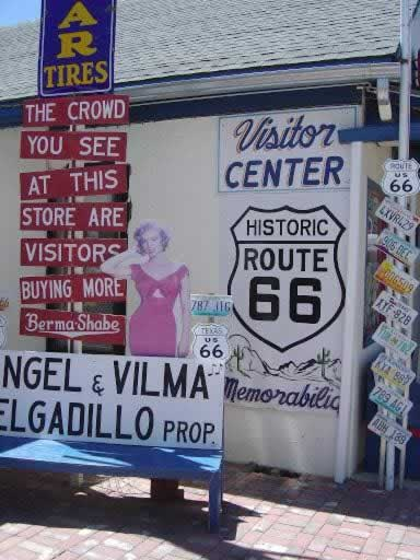 Angel & Vilma's visitor center and shop in Seligman, Arizona, on Route 66
