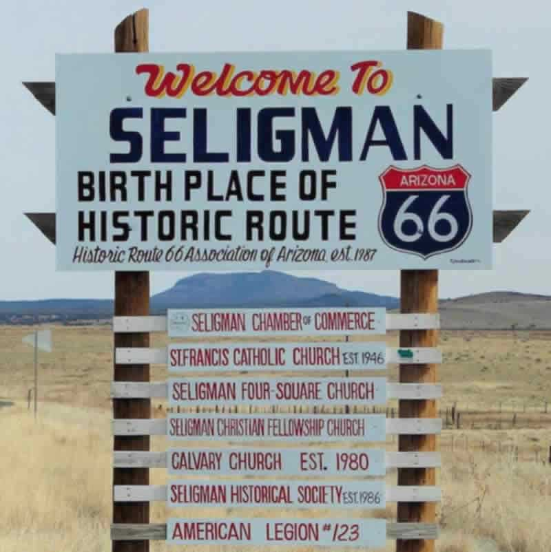 "Welcome to Seligman ... ""Birth Place of Historic Route 66"""