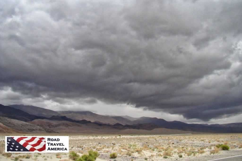 Storm clouds and rain settle in over Death Valley National Park
