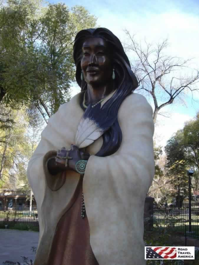 Statue of Blessed Kateri Tekakwitha at the Cathedral Basilica of St. Francis of Assisi in Santa Fe