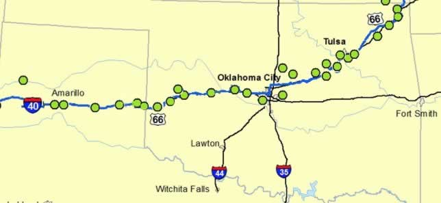 Map of Historic Route 66 across Oklahoma