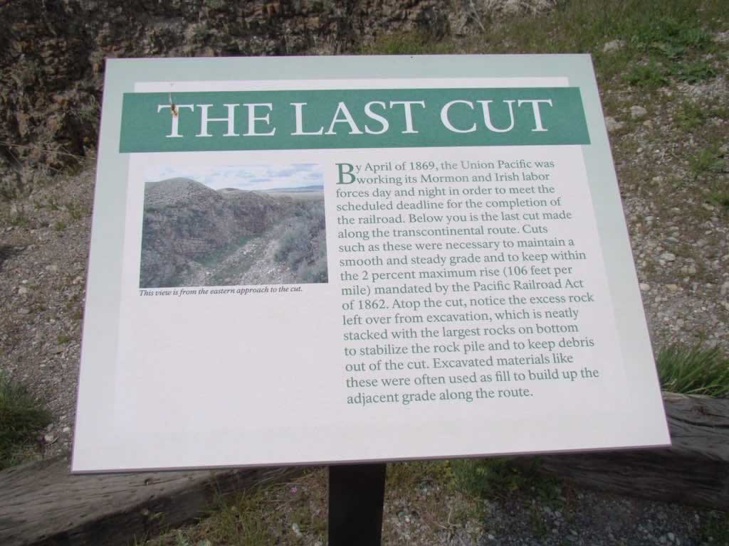 "Golden Spike sign marking ""The Last Cut"""