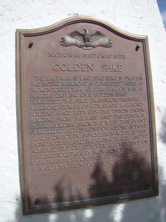 "Golden Spike plaque on the monument: ""The last rail is laid, the spike is driven"