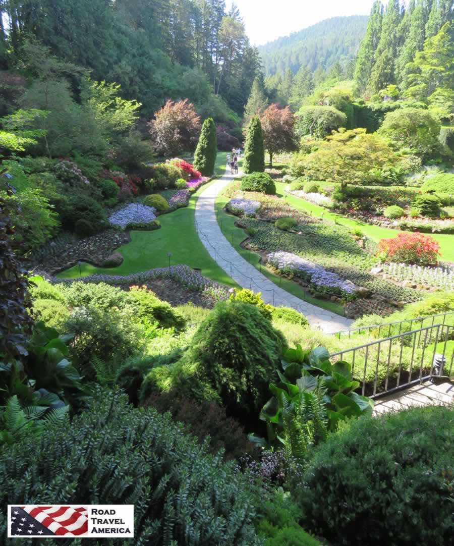 Sunken gardens at The Butchart Gardens in Victoria